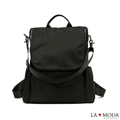 La Moda 輕旅行超輕量大容量防潑水2Way 肩背後背包(黑)