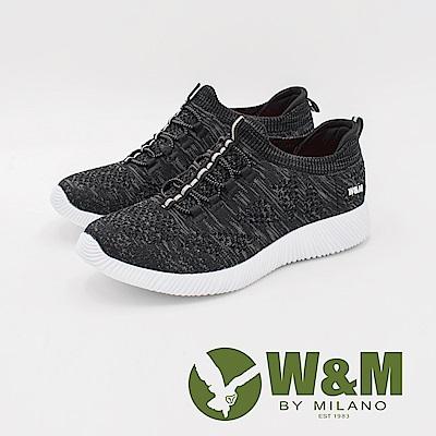W&M 輕量系列 免綁帶慢跑運動休閒 女鞋-黑(另有藍)