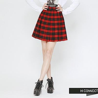 H:CONNECT 韓國品牌 女裝-格紋配色百褶短裙-紅