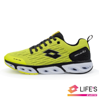LOTTO 義大利 男 AIR FLOW 4.0  風動跑鞋 (螢光黃)