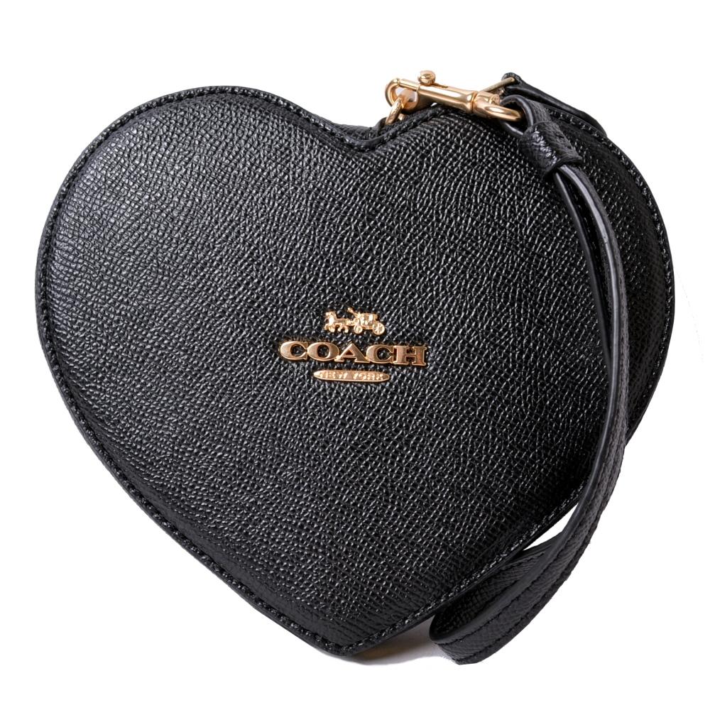 COACH限定款金屬馬車心型零錢袋手拿包-雅致黑COACH