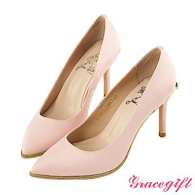 Disney collection by Grace gift蝴蝶結鑽釦金蔥高跟鞋 粉