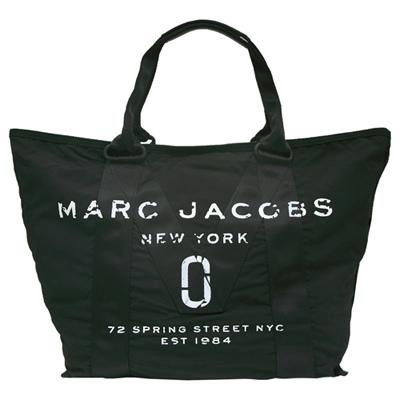 MARC JACOBS New Logo 丹寧帆布手提/肩背托特包-黑色(大)