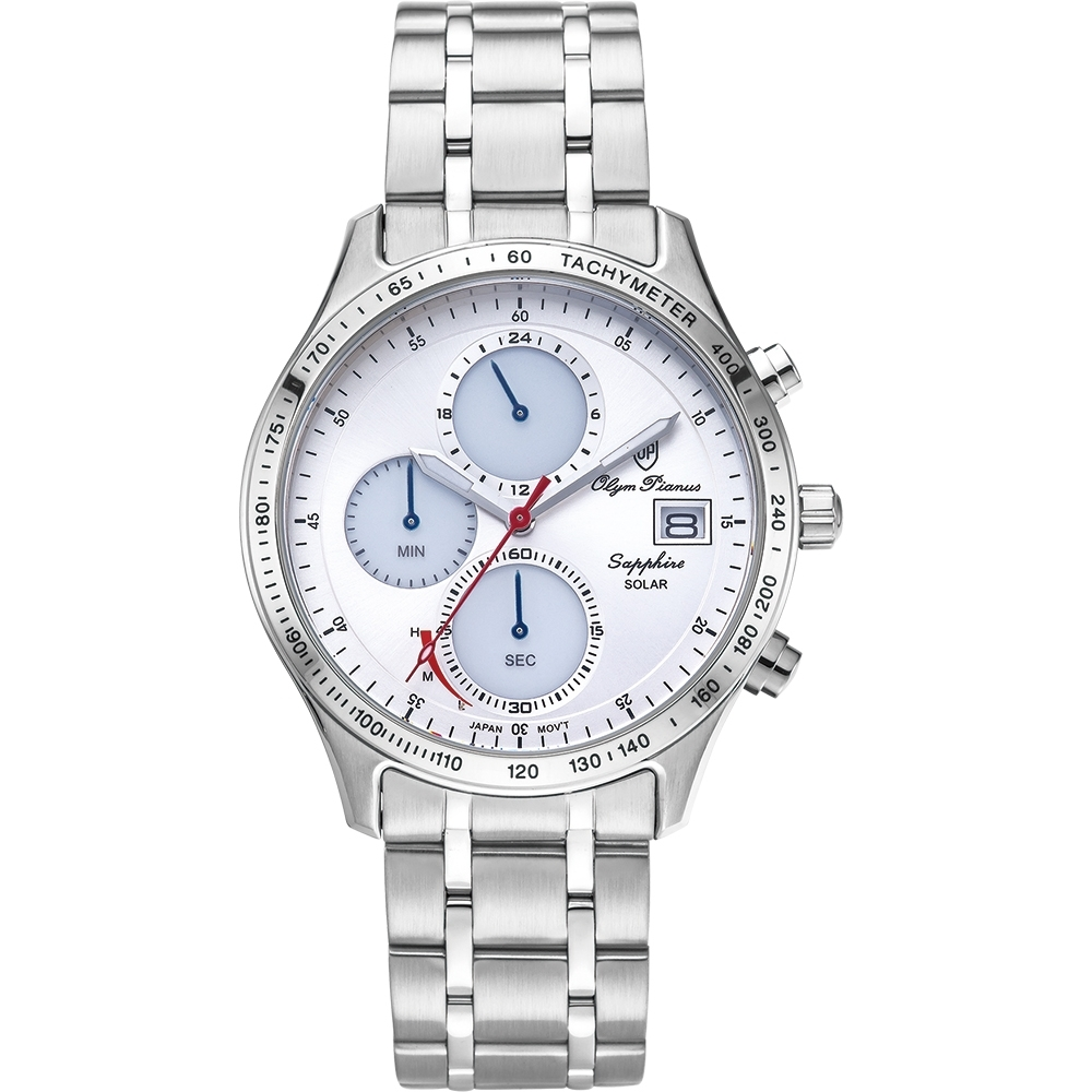 Olym Pianus 奧柏表 耀眼太陽能計時腕錶-白 89052-3MS