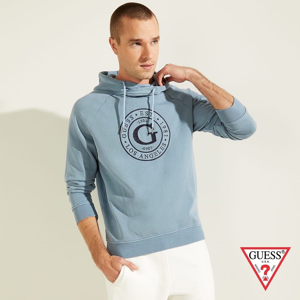 GUESS-男裝-美式字母LOGO長袖帽T-藍 原價2790