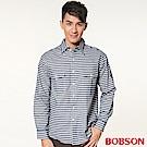 BOBSON 男款刷毛條紋長袖襯衫(藍53)