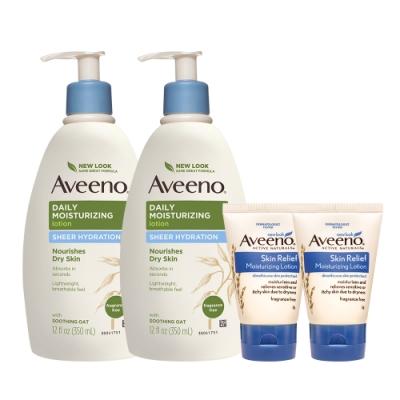 艾惟諾 Aveeno燕麥水感保濕乳(買2送2)(350mlx2+高效保濕乳30gx2)