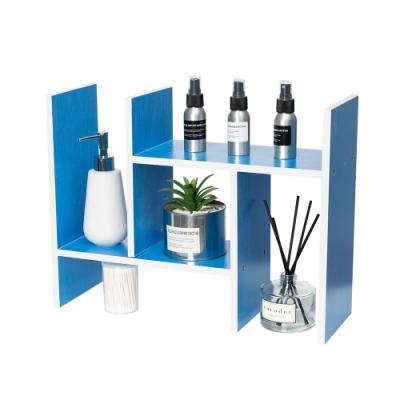 樂嫚妮 H型多用途收納置物書架/桌面/伸縮-天藍色-寬30~62X深15X高35cm