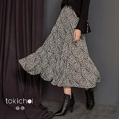 東京著衣 百變女王時尚豹紋蛋糕層次長裙-S.M(共二色)