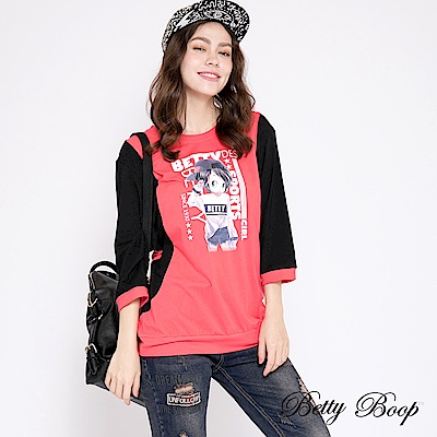 Betty Boop貝蒂 大圖配色拼接柔棉上衣(共兩色)
