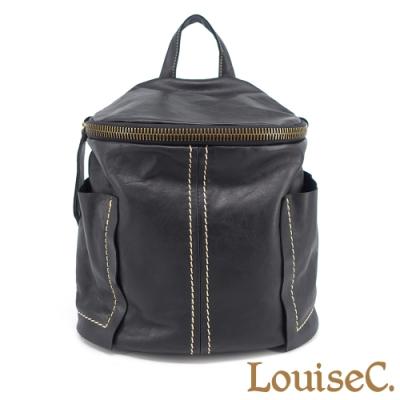 【 Tree House 】LouiseC. 真牛皮大拉鍊半圓形大後背包(黑色)-雙插袋配色車線設計 YS1058-05