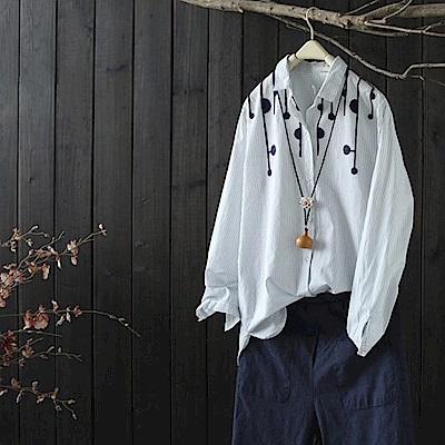 簡約休閒毛球條紋純棉襯衫長袖-Y2663-設計所在
