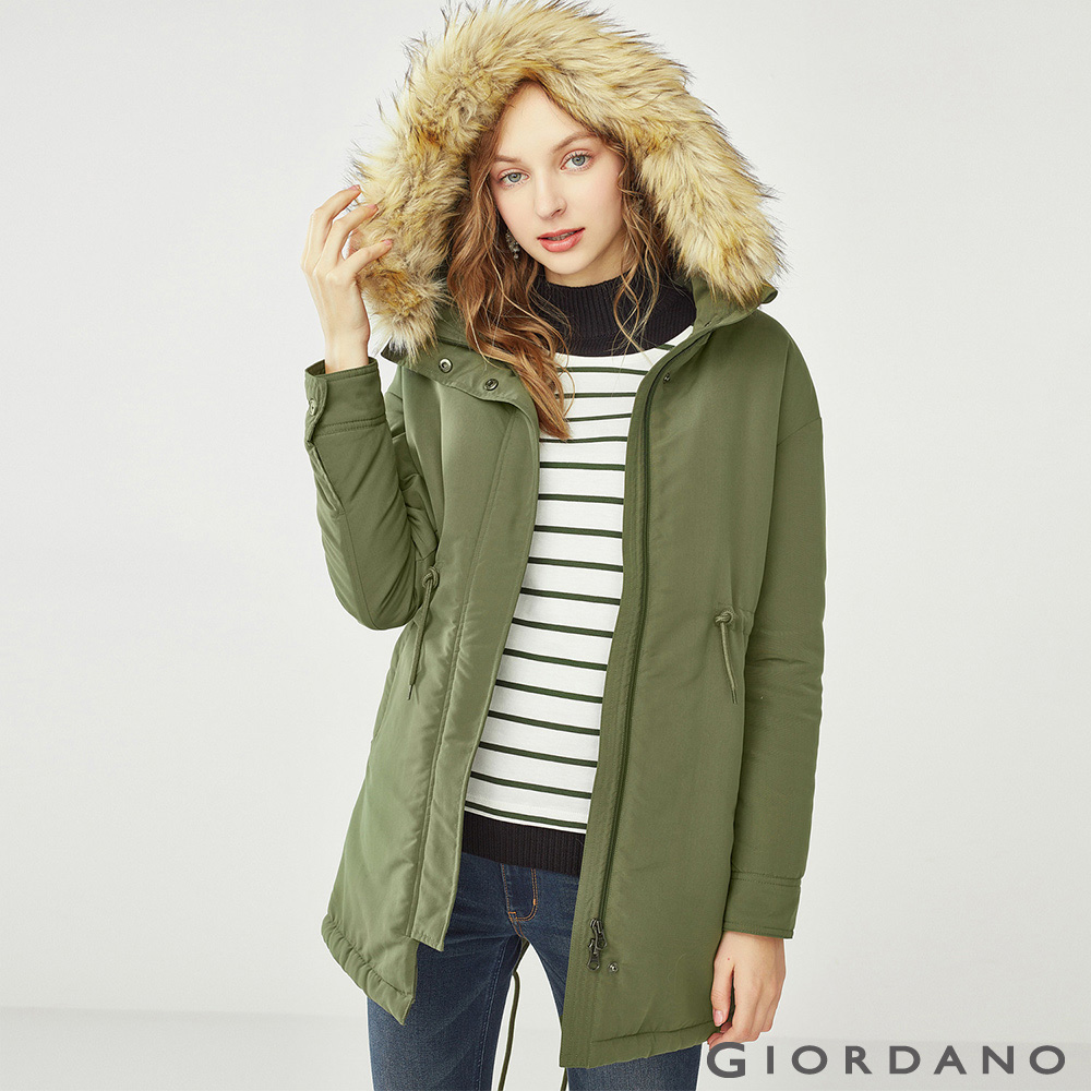 GIORDANO 女裝內刷毛收腰連帽長版厚外套PARKA-50 葡萄葉綠