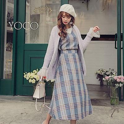 東京著衣-yoco 法國女孩格紋時髦配色中長裙背心套裝-S.M.L(共一色)