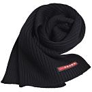 PRADA 義大利製品牌紅標字母LOGO直紋造型圍巾(黑系)