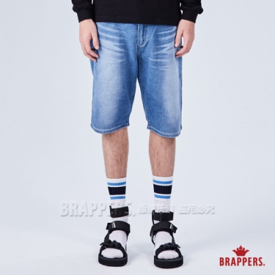 BRAPPERS 男款 彈性針織五分褲-淺藍