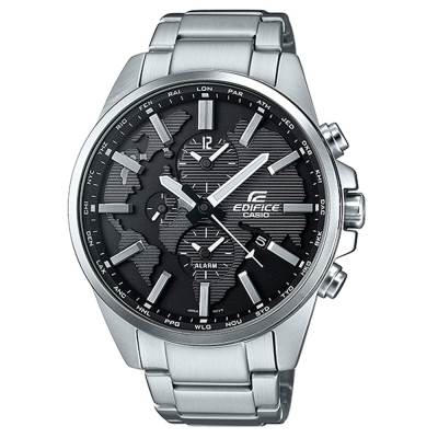 EDIFICE 世界地圖浮刻設計大錶面時尚腕錶(ETD-300D-1A)黑/46.3mm