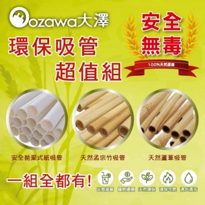 OZAWA大澤 天然環保吸管超值組(竹吸管+蘆葦吸管+紙吸管各1包) 3組入