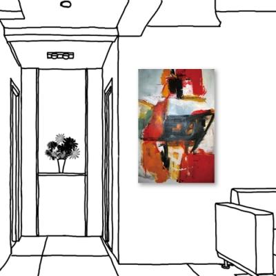 24mama掛畫-單聯式 藝術裝飾 抽象油畫風無框畫 40X60cm-相對相遇