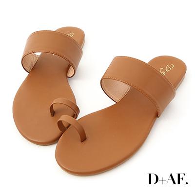 D+AF 夏日微醺.一字寬帶套指涼拖鞋*棕