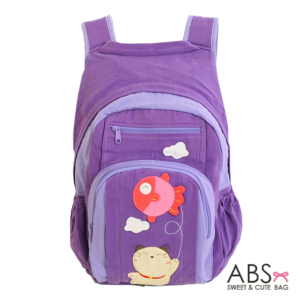 ABS貝斯貓 Fish&Cat 拼布雙肩後背包(淺薰紫)88-168