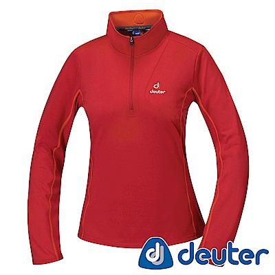 【ATUNAS 歐都納】德國DEUTER保暖長袖女拉鍊衫DE-P1504W漿果紅