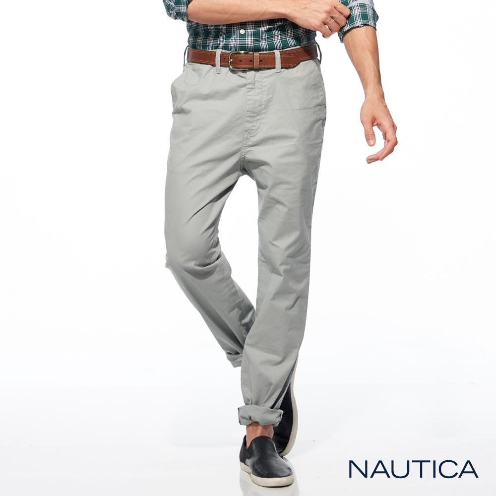 Nautica美式休閒修身長褲-淺灰