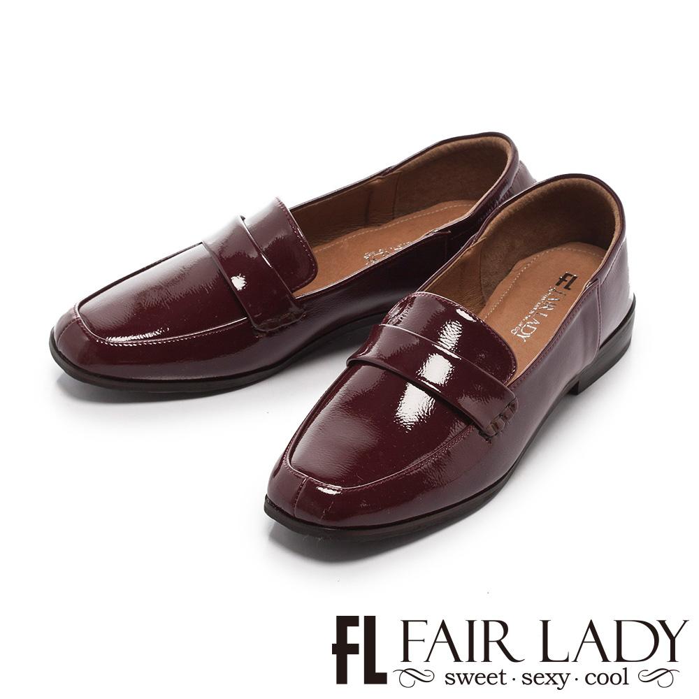Fair Lady 有一種喜歡是早秋-復古經典漆皮樂福鞋 酒紅