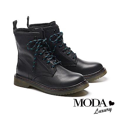 短靴 MODA Luxury 率性經典牛皮綁帶馬汀馬丁中筒短靴-黑