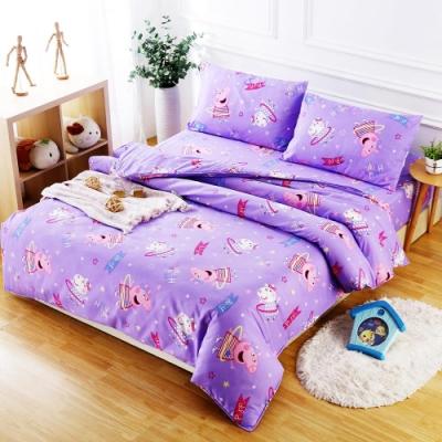 Peppa Pig  佩佩好朋友  親膚舒柔雙人床包枕套三件組