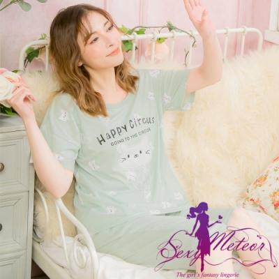 睡衣 全尺碼 英字貓咪短袖二件式睡衣組(休閒豆綠) Sexy Meteor