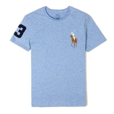 Polo Ralph Lauren 年度熱銷刺繡彩大馬圓領素面短袖T恤-藍色