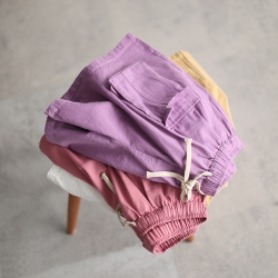 純棉鬆緊腰寬鬆大碼百搭顯瘦褲子六色-設計所在