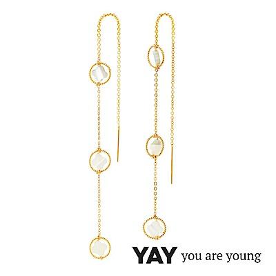 YAY You Are Young White Swan 珍珠母貝幸運草耳環 金色拉線設計