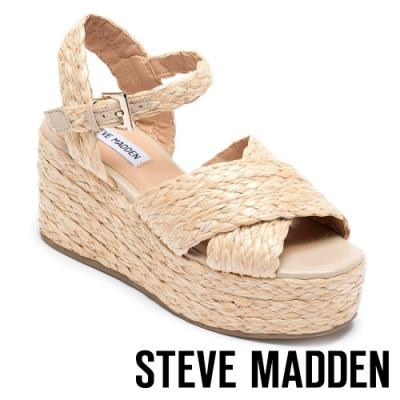 STEVE MADDEN-PAM 草編十字交叉楔型涼鞋-棕色