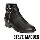 STEVE MADDEN-DEJA 拉鍊皮帶扣真皮短靴-黑色