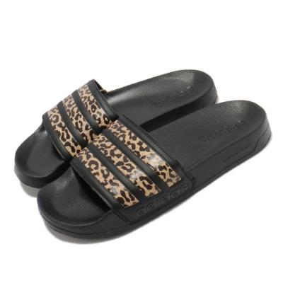 adidas 拖鞋 Adilette Shower 套腳 女鞋 輕便 舒適 夏日 黑 棕 FZ2856