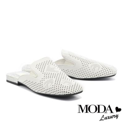 拖鞋 MODA Luxury 時髦氣勢沖孔羊皮晶鑽方頭低跟穆勒拖鞋-白