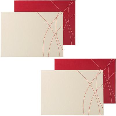 CreativeTops 縫紋皮革餐墊4入(紅)