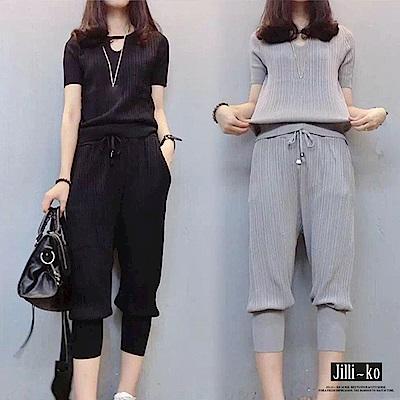 Jilli-ko 兩件套壓摺紋七分褲套裝- 黑/灰