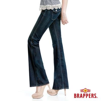BRAPPERS 女款 女個性系列-大靴型褲-深藍