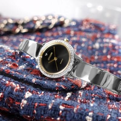 CITIZEN  珍珠母貝 小巧典雅 耀眼晶鑽 不鏽鋼手錶-黑x銀/23mm
