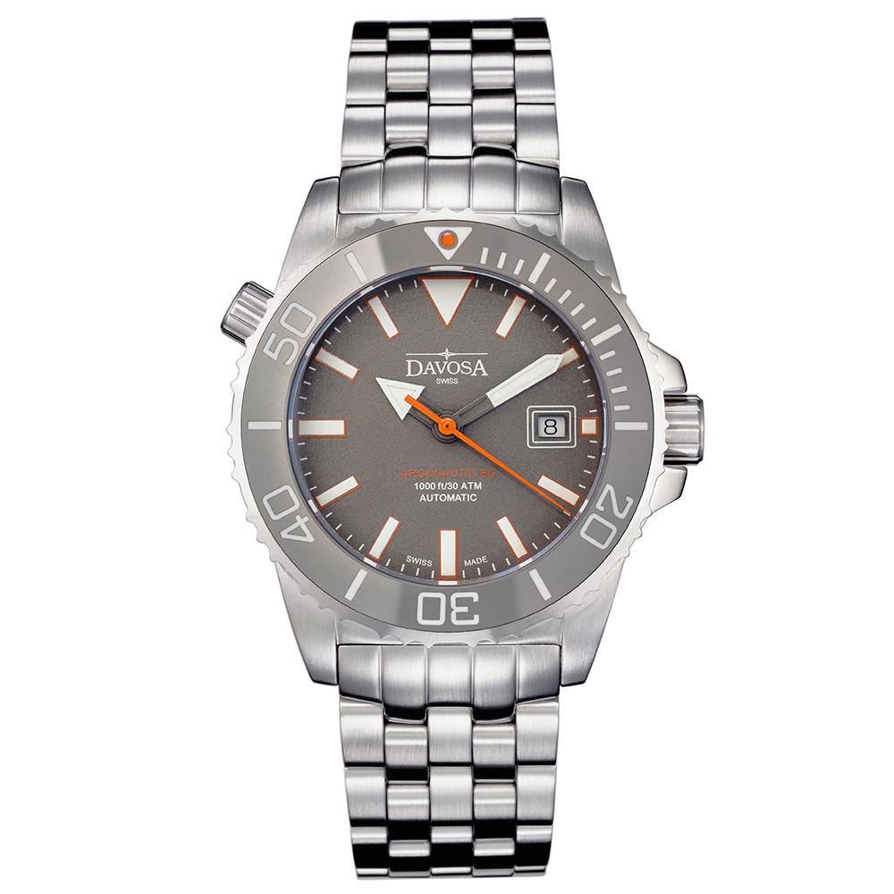 DAVOSA BG 300米排氦氣潛水專用錶-灰x不鏽鋼錶帶/42mm
