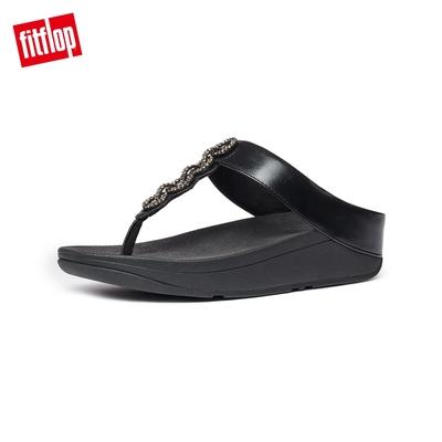 FitFlop FINO SPARKLE TOE-THONGS 優雅鑲鑽鎖鏈裝飾夾腳涼鞋-女(靓黑色)