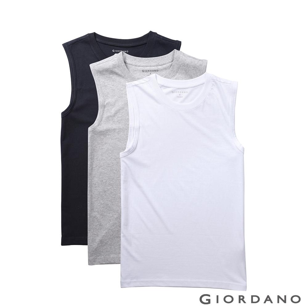 GIORDANO 男裝素色純棉無袖背心(三件組)-22 標誌白/灰/黑