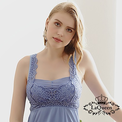內衣  完美提托蠶絲無鋼圈內衣背心裙-藍 La Queen