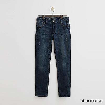 Hang Ten -磨破設計刷色牛仔褲 - 藍