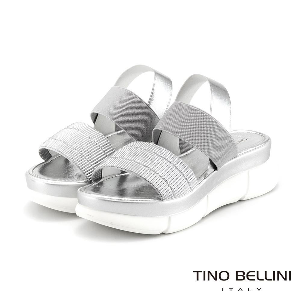 Tino Bellini義大利進口褶紋彈力帶厚底涼鞋_銀白