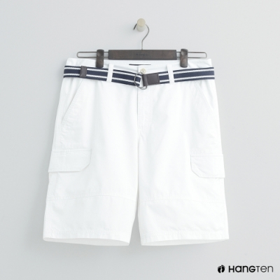 Hang Ten - 男裝 - 腰帶造型口袋棉質短褲-白