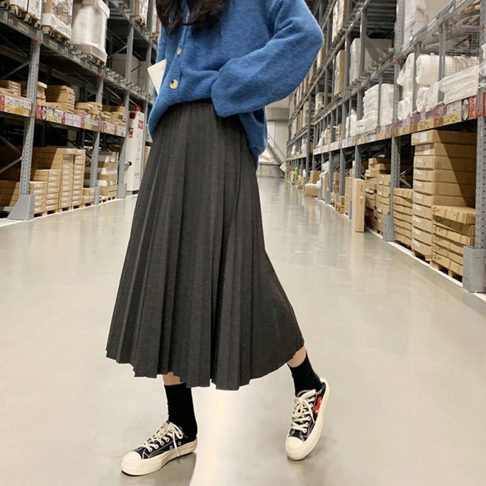 La Belleza黑色腰頭鬆緊腰素色厚毛呢料百摺裙大擺裙 @ Y!購物